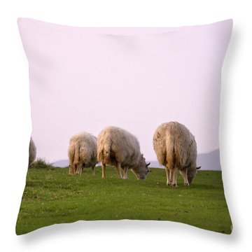 Wooly Bottoms Throw Pillow by Angel  Tarantella