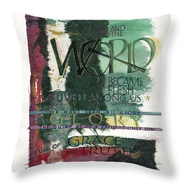 Word Throw Pillow by Judy Dodds
