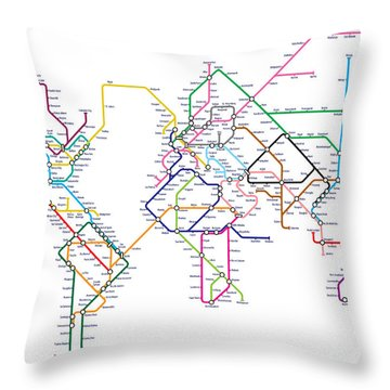 World Metro Tube Map Throw Pillow by Michael Tompsett