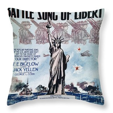 World War I: Song Sheet Throw Pillow by Granger
