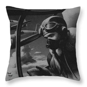 World War II Fighter Pilot Throw Pillow by American School