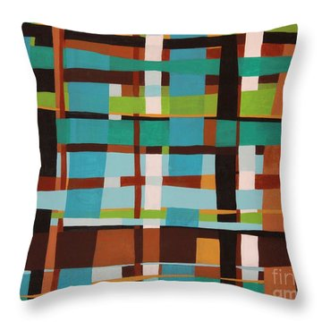 Woven Blues Throw Pillow by Karla Gerard