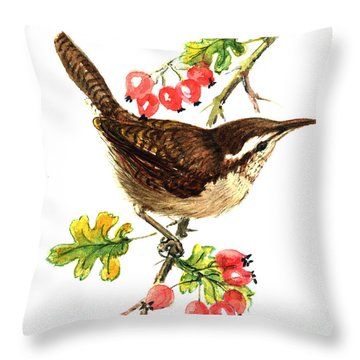 Wren And Rosehips Throw Pillow by Nell Hill