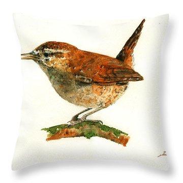 Wren Bird Art Painting Throw Pillow by Juan  Bosco