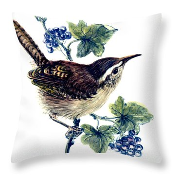 Wren In The Ivy Throw Pillow by Nell Hill