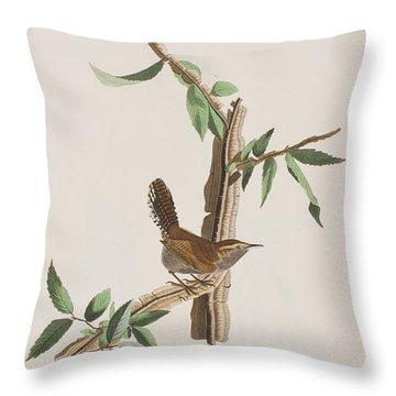 Wren Throw Pillow by John James Audubon