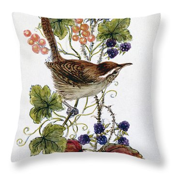 Wren On A Spray Of Berries Throw Pillow by Nell Hill