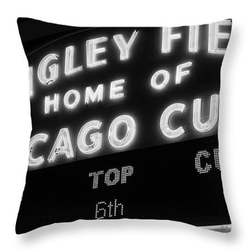 Wrigley Field Sign Black And White Picture Throw Pillow by Paul Velgos