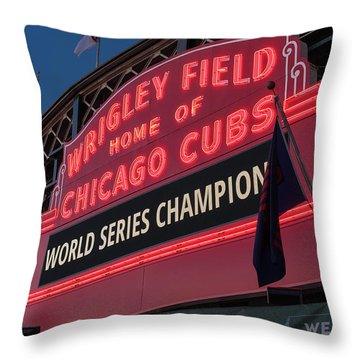 Wrigley Field World Series Marquee Throw Pillow by Steve Gadomski