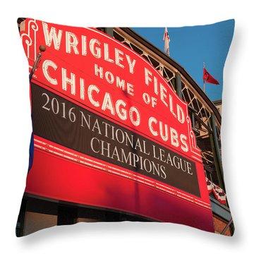 Wrigley Field Marquee Angle Throw Pillow by Steve Gadomski