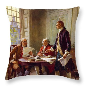 Writing The Declaration Of Independence, 1776, Throw Pillow by Leon Gerome Ferris