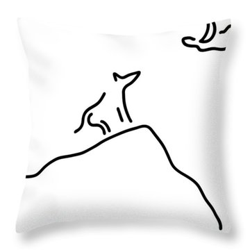 Wulf And Moon Throw Pillow by Lineamentum