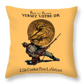 Wwi Gold For French Victory Throw Pillow by Historic Image