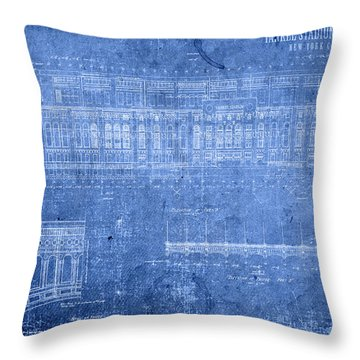 Yankee Stadium New York City Blueprints Throw Pillow by Design Turnpike