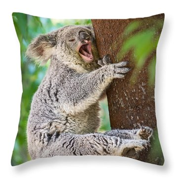Yawn And Stretch Throw Pillow by Jamie Pham