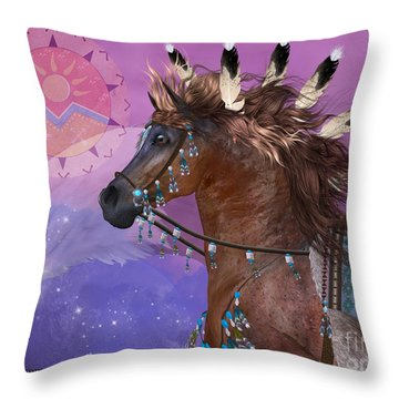 Year Of The Eagle Horse Throw Pillow by Corey Ford