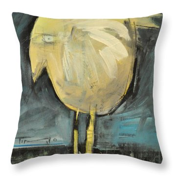 Yellow Bird In Field Throw Pillow by Tim Nyberg
