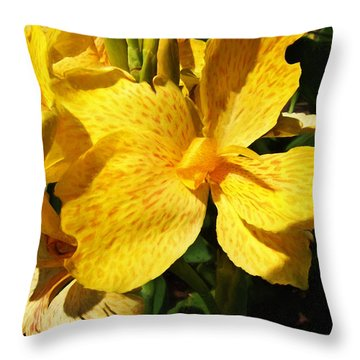 Yellow Canna Lily Throw Pillow by Shawna Rowe