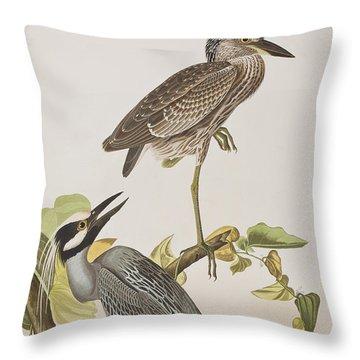 Yellow Crowned Heron Throw Pillow by John James Audubon