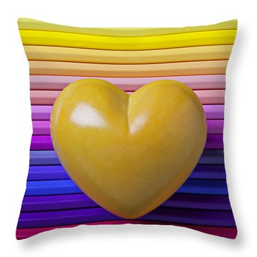 Yellow Heart On Row Of Colored Pencils Throw Pillow by Garry Gay