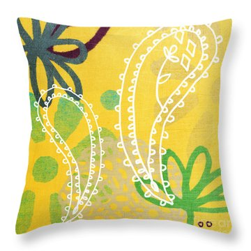 Yellow Paisley Garden Throw Pillow by Linda Woods