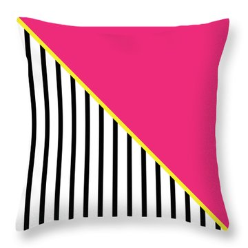 Yellow Pink And Black Geometric 2 Throw Pillow by Linda Woods