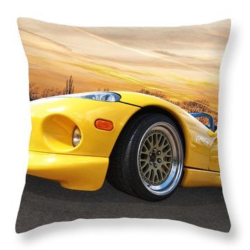 Yellow Viper Rt10 Throw Pillow by Gill Billington