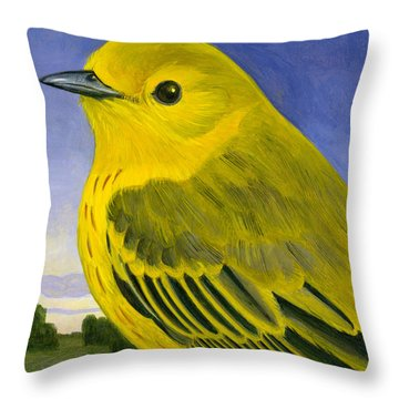 Yellow Warbler Throw Pillow by Francois Girard