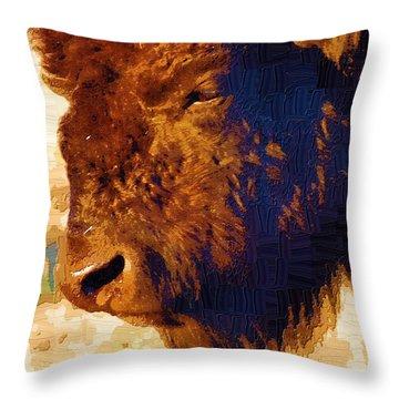 Yellowstone Buffalo Throw Pillow by Diane E Berry