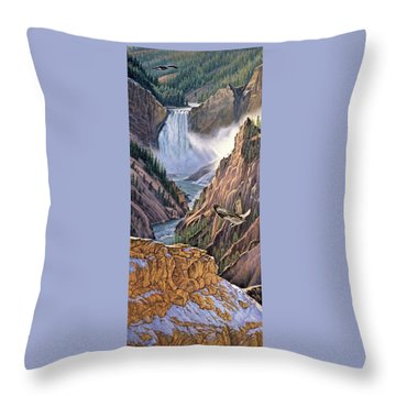 Yellowstone Canyon-osprey Throw Pillow by Paul Krapf