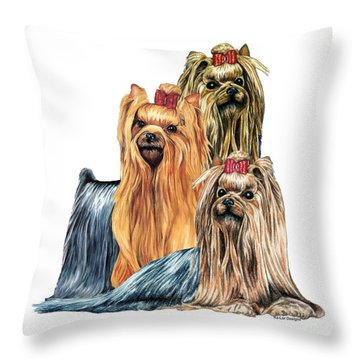 Yorkshire Terriers Throw Pillow by Kathleen Sepulveda
