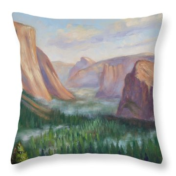 Yosemite Valley Throw Pillow by Karin  Leonard