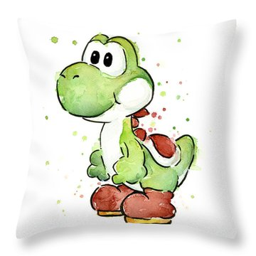 Yoshi Watercolor Throw Pillow by Olga Shvartsur