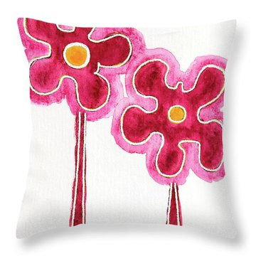 Throw Pillow featuring the drawing You Will Bloom Like A Flower by Frank Tschakert