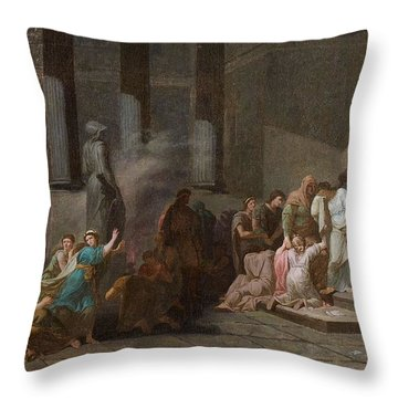 Young Athenian And Athenian Casting Lots To Be Delivered To The Minotaur Throw Pillow by MotionAge Designs