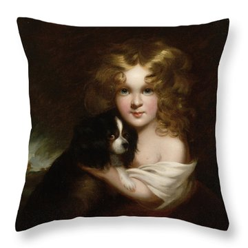 Young Girl With A Dog Throw Pillow by Margaret Sarah Carpenter