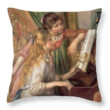 Young Girls At The Piano Throw Pillow by Pierre Auguste Renoir