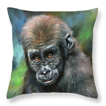 Young Gorilla Throw Pillow by David Stribbling