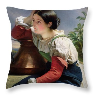 Young Italian At The Well Throw Pillow by Franz Xaver Winterhalter