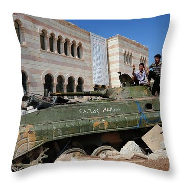 Young Syrian Boys On Top Throw Pillow by Andrew Chittock