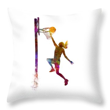Young Woman Basketball Player 04 In Watercolor Throw Pillow by Pablo Romero