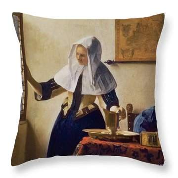 Young Woman With A Water Jug Throw Pillow by Jan Vermeer