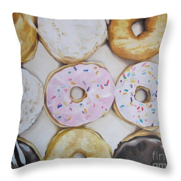 Yummy Donuts Throw Pillow by Jindra Noewi