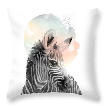 Zebra // Dreaming Throw Pillow by Amy Hamilton