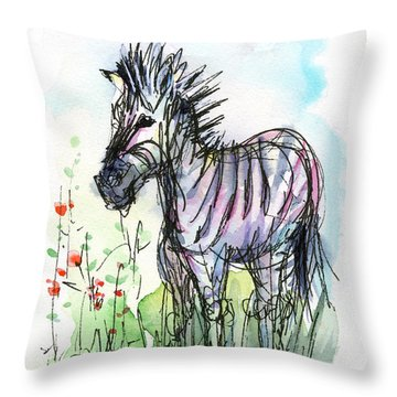 Zebra Painting Watercolor Sketch Throw Pillow by Olga Shvartsur