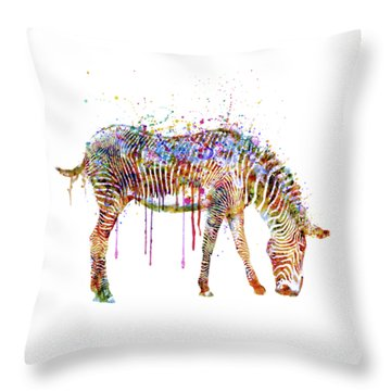 Zebra Watercolor Painting Throw Pillow by Marian Voicu