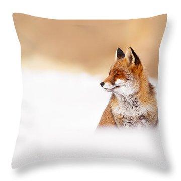 Zen Fox Series - Zen Fox In Winter Mood Throw Pillow by Roeselien Raimond