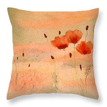 Zen Poppies Throw Pillow by Arlene  Wright-Correll