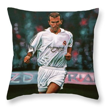 Zidane At Real Madrid Painting Throw Pillow by Paul Meijering