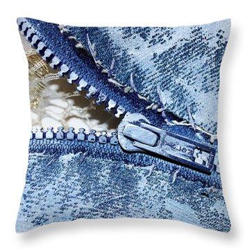 Zipper In Blue Throw Pillow by Nancy Mueller